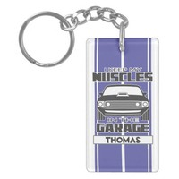 I Keep My Muscles In The Garage Muscle Car Blue Keychain