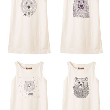 Bears in hand draw style Printed Vintage Linen Mini Shift Dress WDS_01