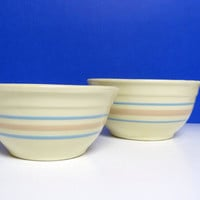 McCoy Pottery Bowls, Set of Two Vintage Bowls, Ivory / Cream with Blue and Pink