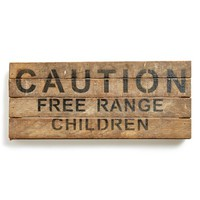 Second Nature By Hand 'Caution: Free Range Children' Repurposed Wood Wall Plaque