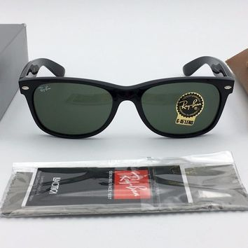 Cheap RAY BAN NEW WAYFARER SUNGLASSES RB2132 901 Shiny Black, Crystal Green G-15 55mm outlet