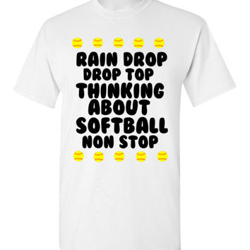 Rain Drop Drop Top Thinking About Softball Non Stop