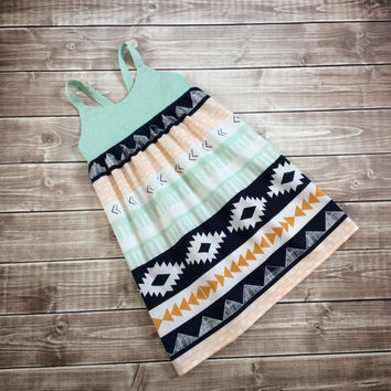 Mint and navy hummingbird dress