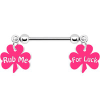 Rub Me For Luck Pink Clover Nipple Ring | Body Candy Body Jewelry