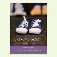 Purple Baby Coming Soon Pregnancy Announcement from Zazzle.com