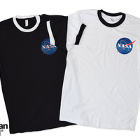 NASA Ringer T Shirt Tee Grunge Tumblr Fashion UFO Space Ship