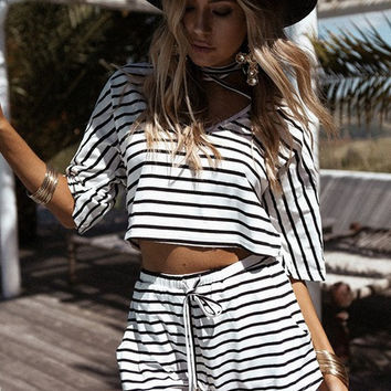 Fashion Stripe Print Short Sleeve Cami Crop Shirt Shorts Set Two-Piece