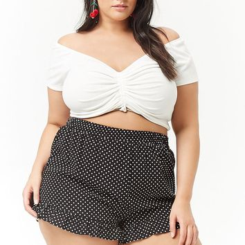 Plus Size Polka Dot Ruffle Shorts