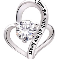 "Jewelry Sterling Silver ""I love you with all my heart"" Love Heart Cubic Zirconia Necklace"