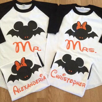 Free/Fast  Shipping for US Mickey and Minnie Halloween Bats Family 3/4 long sleeve  Baseball  T-Shirts