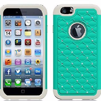 Apple iPhone 6s / 6 Case,  Crystal Rhinestone Slim Hybrid Dual Layer Case for Iphone 6S/6 - Teal/White