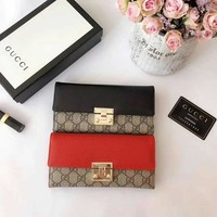 GUCCI WOMEN'S LEATHER PADLOCK WALLET