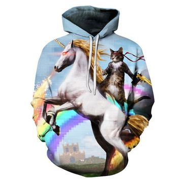Cat Riding Unicorn 3D Printed  Hoodies Unisex