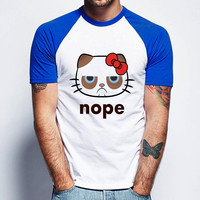 Hello Kitty Grumpy Cat Nope Short Sleeve Raglan- White Red - White Blue - White Black
