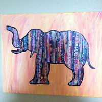 Hand Painted/Mixed Media Collage Elephant 16 X 20 Canvas