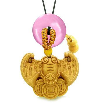 Flying Bat Lucky Coins Car Charm Home DecPink Simulated Cats Eye Donut Protection Powers Amulet