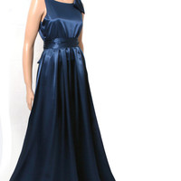 Maxi Navy blue/ Bridesmaid / Wedding Party / Cocktail / Evening / Prom / Formal / satin dress