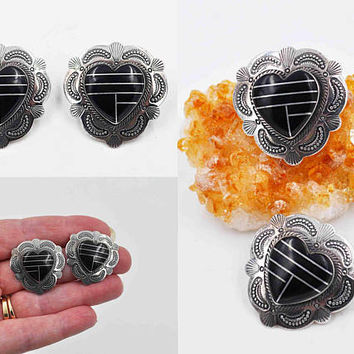 Vintage Sterling Silver Black Onyx Heart Pierced Earrings, Inlaid, Southwestern, Stamped, Ornate, Post Style, Gorgeous! #c130