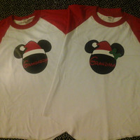 Disney Inspired Santa Mickey/Minnie Baseball TShirts Perfect For That Holiday Trip To Disney