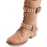 PYRAMID STUD DOUBLE STRAP COMBAT BOOT