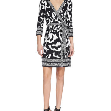Women's Tallulah Printed Silk Wrap Dress - Diane von Furstenberg - Flower ikat black