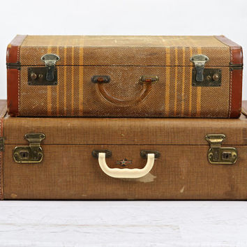Vintage Suitcase Stack of Two / Tweed Striped Old Suitcases
