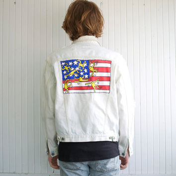 Keith Haring American Flag Distressed Bleached Denim Jacket