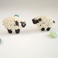 Sheep post earrings, Knitters Gift handmade in polymer clay