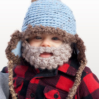 Baby Beard Hat - Fleece Lined with Detachable Beard
