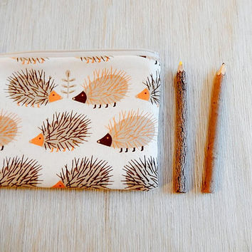 Hedgehog Pouch, Cute Pencil Case, Pouch, Fabric Zipper Pouch, Back to School Supply, Teacher Gift, Brown Hedgehog Pouch, Hedgehog Coin Purse
