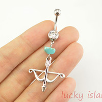 belly ring,arrow and bow belly button jewelry,turquoise belly button rings,navel ring,piercing belly ring,body piercing bellyring