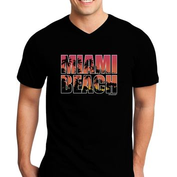 Miami Beach - Sunset Palm Trees Adult Dark V-Neck T-Shirt by TooLoud