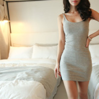 Vest Dress-Women's Cotton Solid Bodycon Strap Base Club Mini Dress