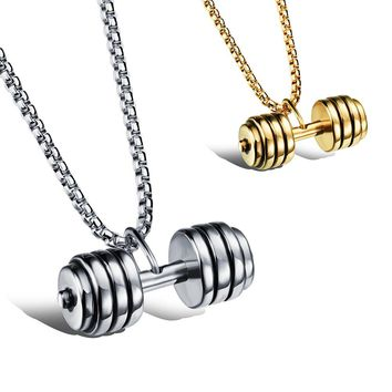 Heavy Weight Dumbbell Pendant Necklace