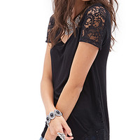 FOREVER 21 Lacy Slub Jersey Tee