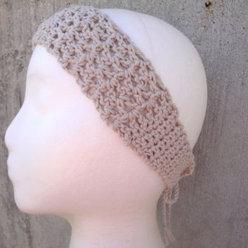 Crochet Tie Back Headband, Bandana, Lacy, Natural Cotton Fiber, Boho Fashion
