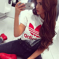 "Women Fashion ""Adidas""  T-Shirt Top Tee White red"