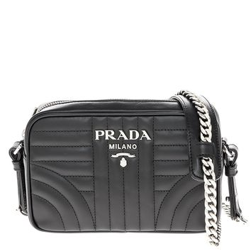 Prada Women's Diagramme Leather Crossbody Bag Black