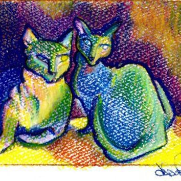 Pastel Painting Felines water color by skyspirit8studios on Etsy