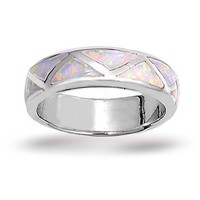 Bling Jewelry 6mm Sterling Silver Band Inlaid Opal Ring
