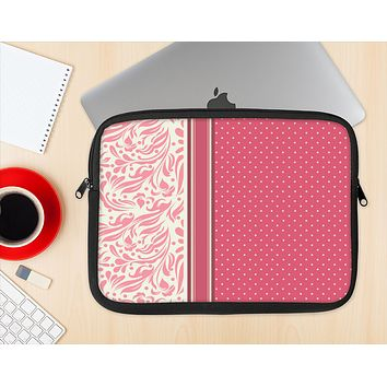 The Hot Pink Swirly Pattern with Polka Dots Ink-Fuzed NeoPrene MacBook Laptop Sleeve