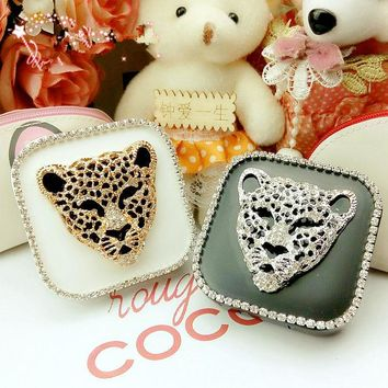 LIUSVENTINA DIY alloy Diamond leopards fox contact lens case for eyes contact lenses box for glasses
