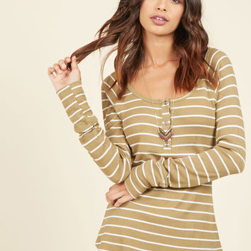 Henley Which Way Top in Olive Stripes | Mod Retro Vintage Short Sleeve Shirts | ModCloth.com