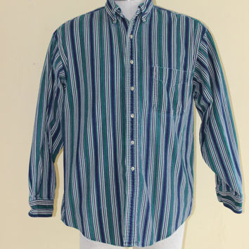 90's LL BEAN Mens Pinstripe Corduroy button up blue and green sz med