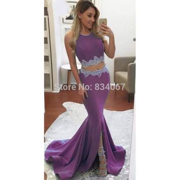 New Design 2017 Mermaid Prom Dress Halter Backless Long Party Gowns with Split 2 Piece Prom Dresses vestidos de formatura