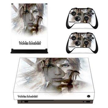 Tomb Raider Vinyl Decal XBOXONE X Skin Sticker for XBOX ONE X Console System and Two Controller Stickers