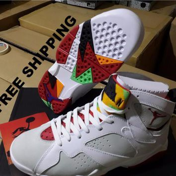 【FREE SHIPPING】AIR JORDAN 7 (HARE) Basketball Sneaker STYLE CODE: 304775-125