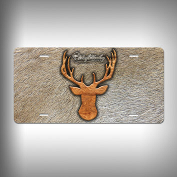 Buck Trophy License Plate / Vanity Plate with Custom Text and Graphics Aluminum
