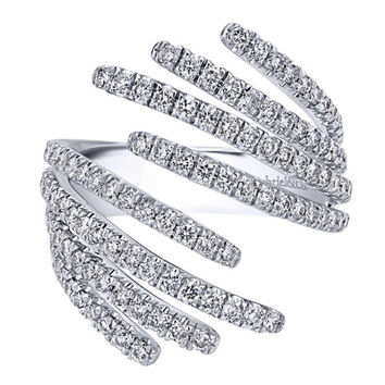 "Gabriel 14k White Gold ""Lusso"" Contemporary Diamond Fashion Ring"