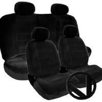 New YupBizatuo Brand 11 Pieces Premium Grade Universal Size Velour Fabric Car Seat Covers Black Clor Set Support 40/60 50/50 Split Seat, Steering Wheel cover and Seat Belt Covers Included